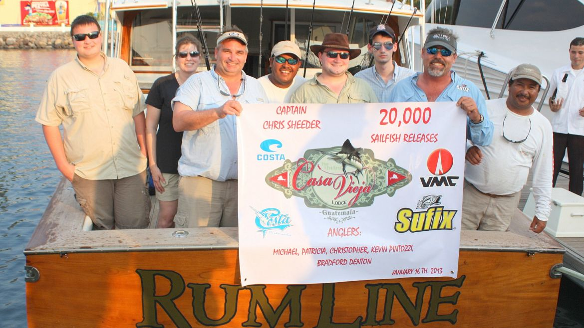 Capt. Chris Sheeder releases his 20,000th Sailfish